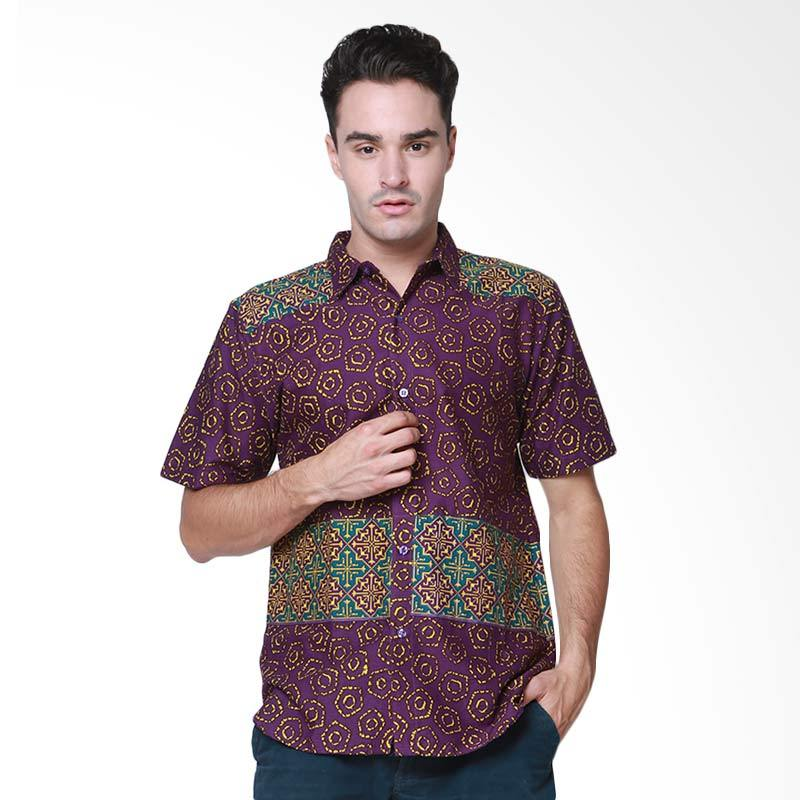 Days by Danarhadi Men Jumput Segi Top Teal Hem Batik Pria - Purple