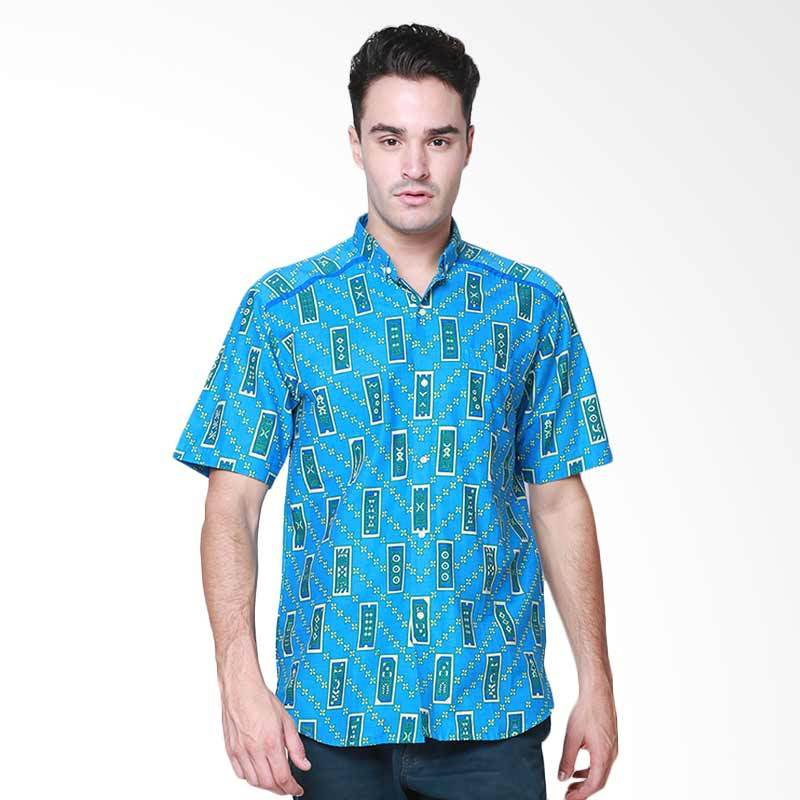 Days by Danarhadi Men Kerton Sinebar High Neck Baju Batik Pria - Blue