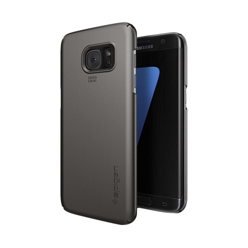 Spigen Thin Fit with Premium Matte Finish Coating Casing for Samsung Galaxy S7 Edge - Gunmetal