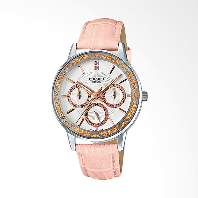 CASIO LTP-2087L-4AVDF Enticer Ion Plated Leather Strap Ladies Jam Tangan Wanita - White Pink