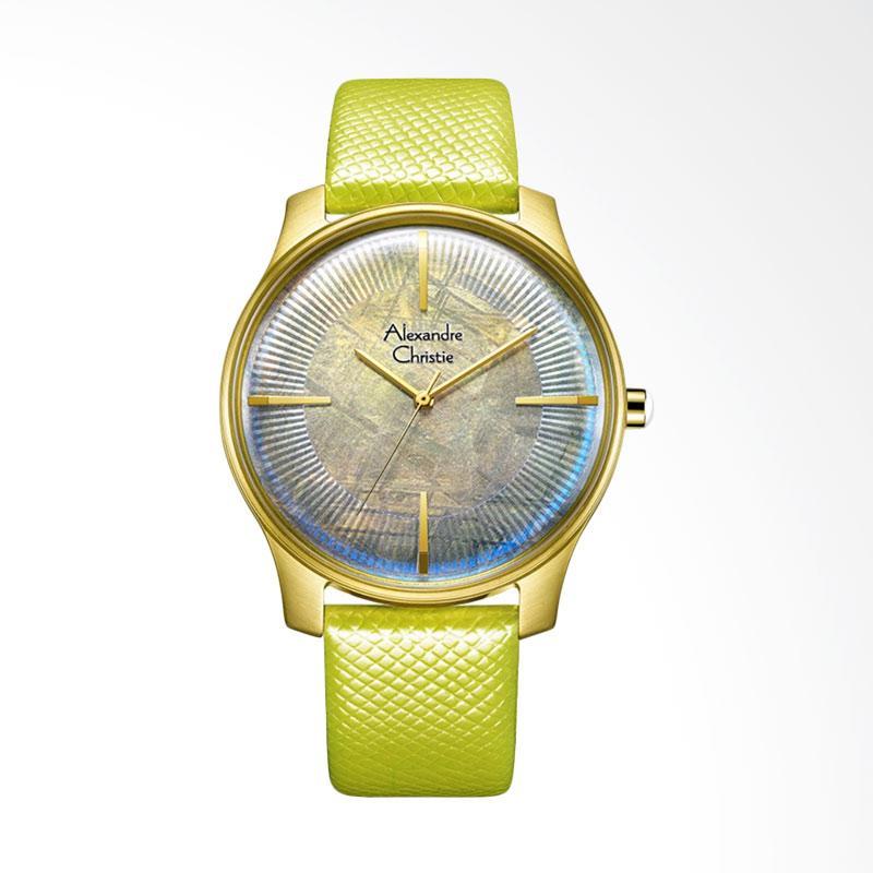 Alexandre Christie ACF-8532-MHLGPMS Signature Watch Theme Dial Green Leather Strap Jam Tangan Unisex - Green