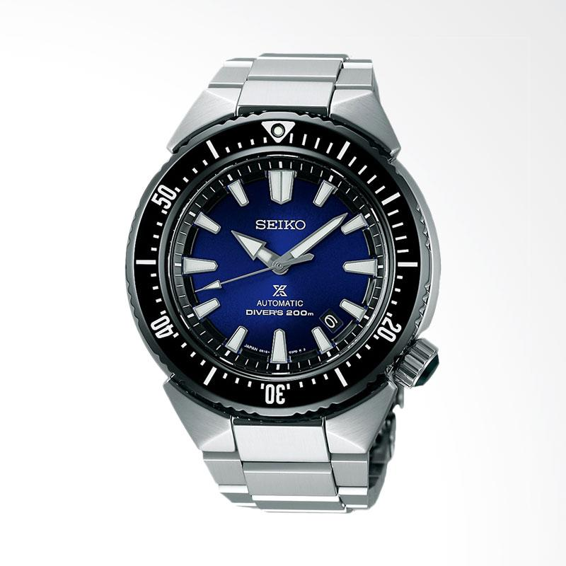 Seiko Transocean Automatic Diver Blue Dial Stainless Steel Jam Tangan Pria - Silver SBDC047J1