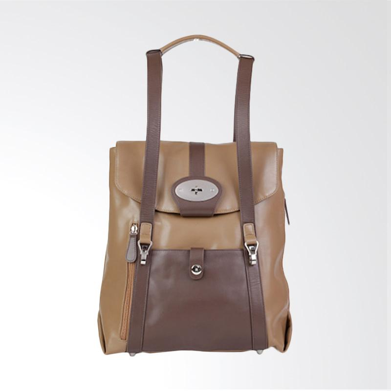 Amore Daniel Leather Beck Mutifunction Backpack - Light Brown [14 Inch]