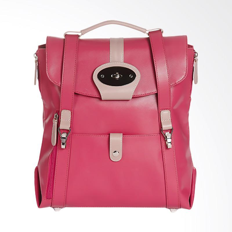 Amore Daniel Leather Beck Mutifunction Backpack - Fuchsia [13 inch]