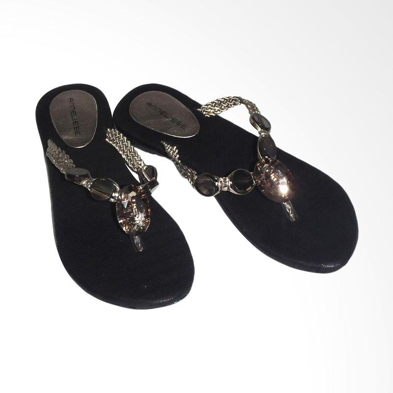 Anneliese Sunny Sandal Flat Wanita - Black