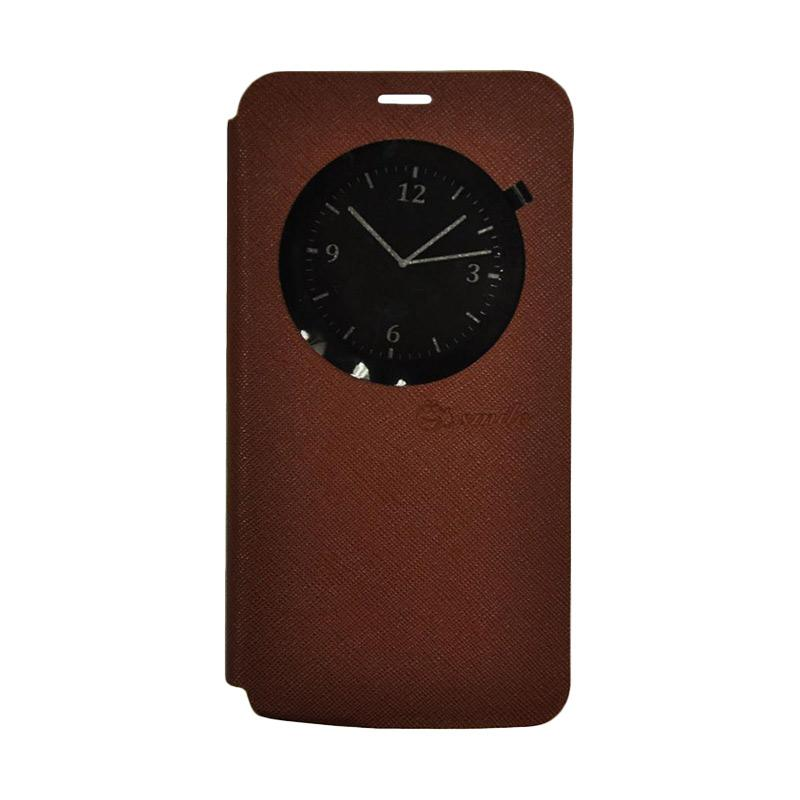 SMILE Leather Standing Flip Cover Casing for LG K10 2017 - Brown