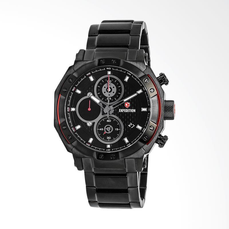 Expedition Man Black Pattern Dial Black Stainless Steel Jam Tangan Pria - Black EXF-6385-MCBIPBARE