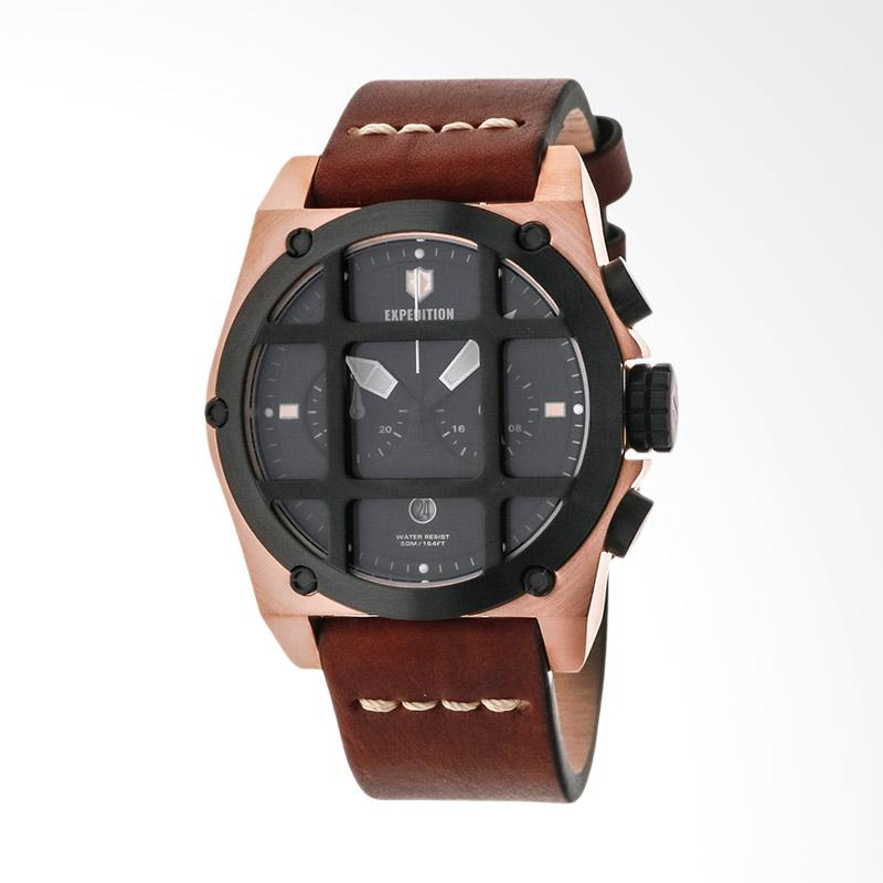 Expedition Chronograph Man Black Dial Brown Leather Strap Jam Tangan Pria - Brown EXF-6692-MCLBRBA