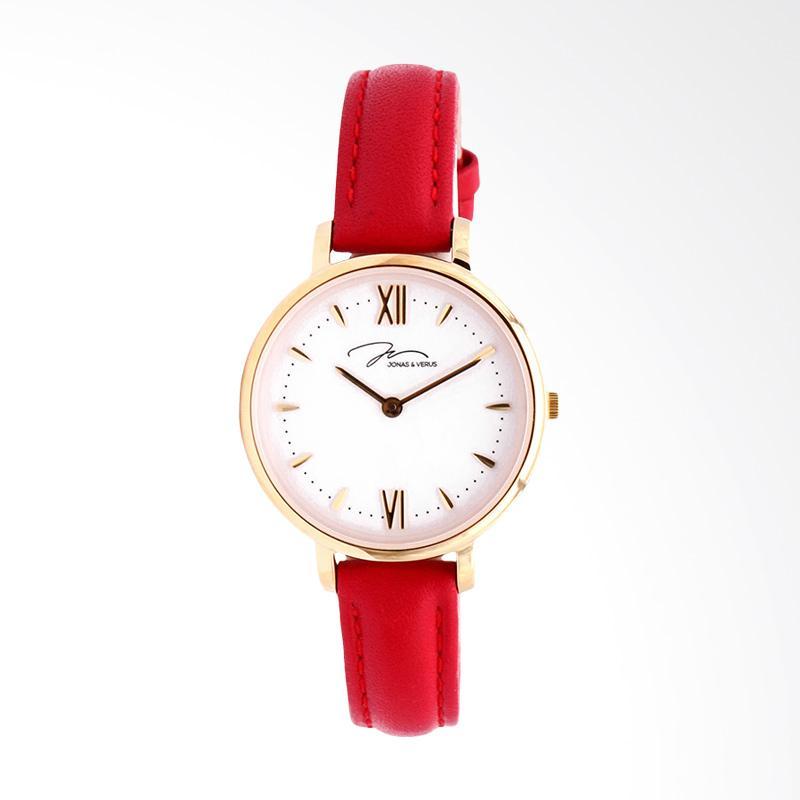 Jonas Verus X00752-Q3.GGWLR Quartz Leather Strap Jam Tangan Wanita - White Red