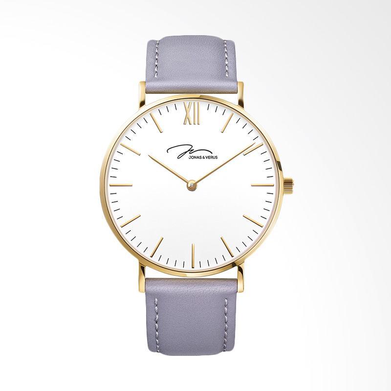 Jonas Verus X01647-Q3.GGWLH White Dial Purple Leather Strap Jam Tangan Wanita