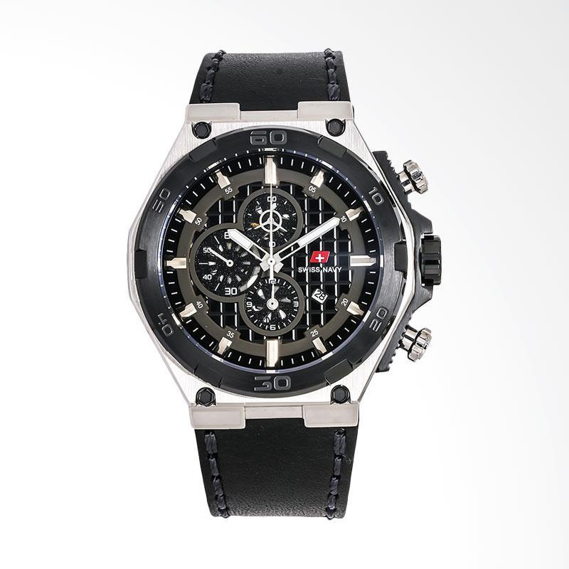 Swiss Navy 6803MRGBKBN Man Chronograph Pattern Dial Leather Strap Jam Tangan Pria - Black