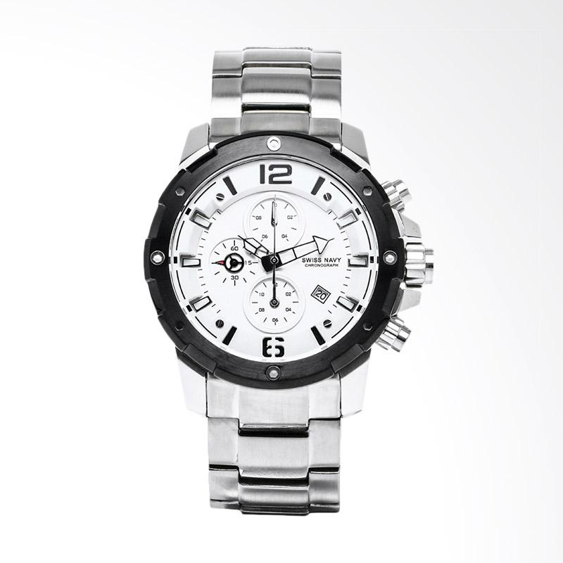 Swiss Navy Chronograph White Dial Stainless Steel Jam Tangan Pria - Silver 6820MSSWH