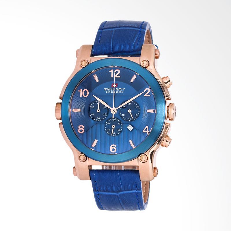Swiss Navy Man Chronograph Blue Pattern Dial Rose Gold Case Blue Leather Strap Jam Tangan Pria - Blue 8309MRGBLBL