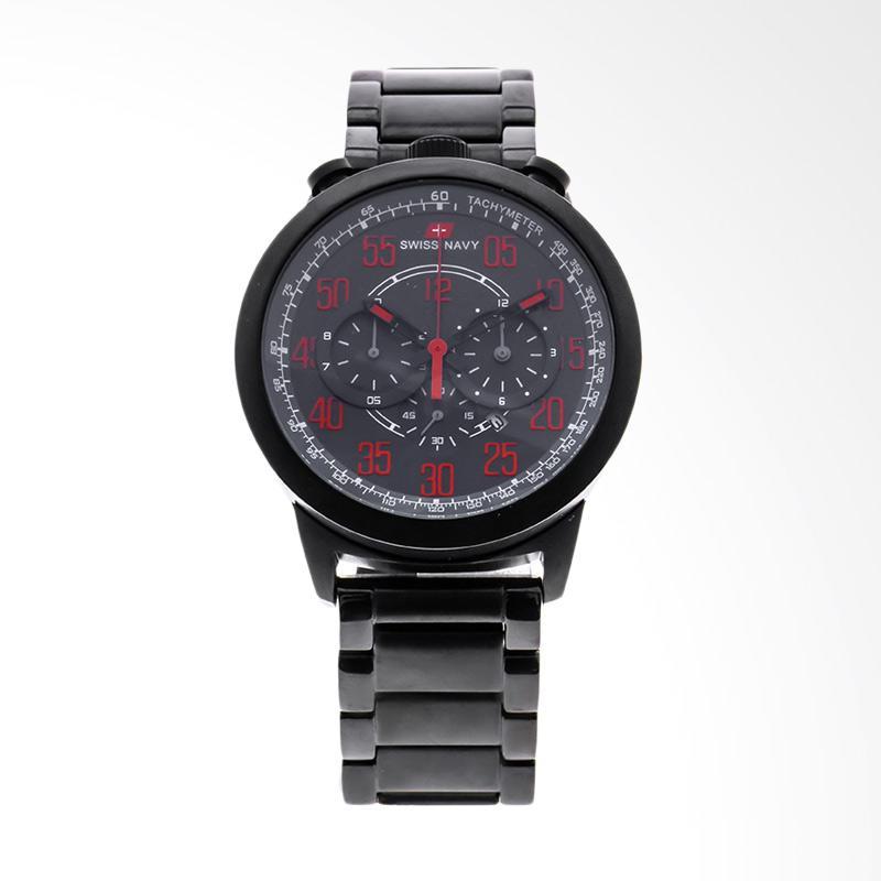 Swiss Navy Man Black Dial Stainless Steel Jam Tangan Pria - Black 8926MABRD