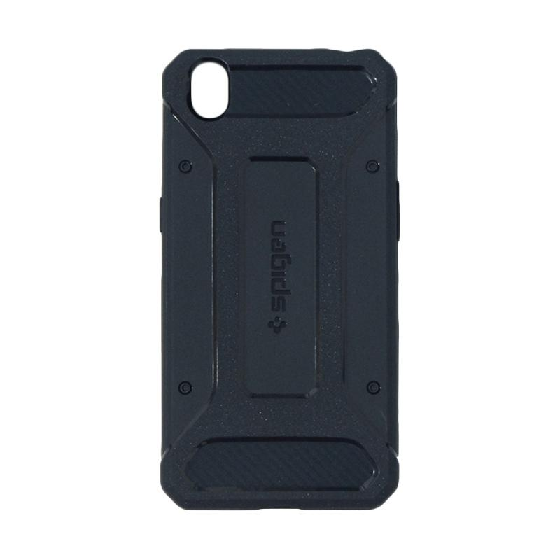 Spigen Rugged Capsule with Carbon Fiber Textures Softcase Casing for Oppo A37 or Neo 9 - Dark Blue