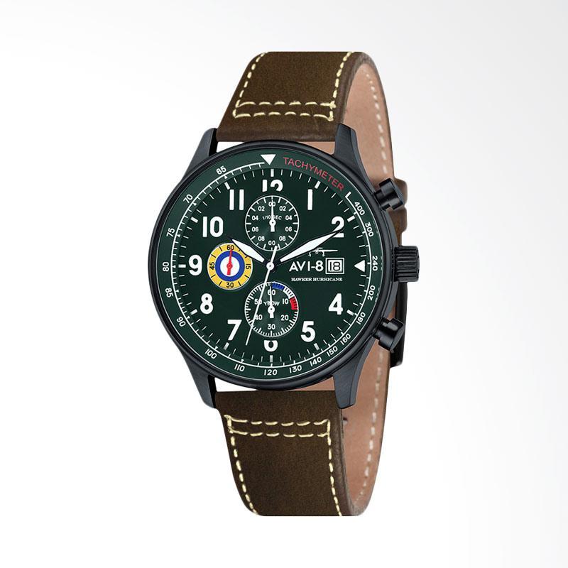 AVI-8 Man Hawker Hurricane Watch Leather Strap Jam Tangan Wanita - Brown Grenn AV-4011-05