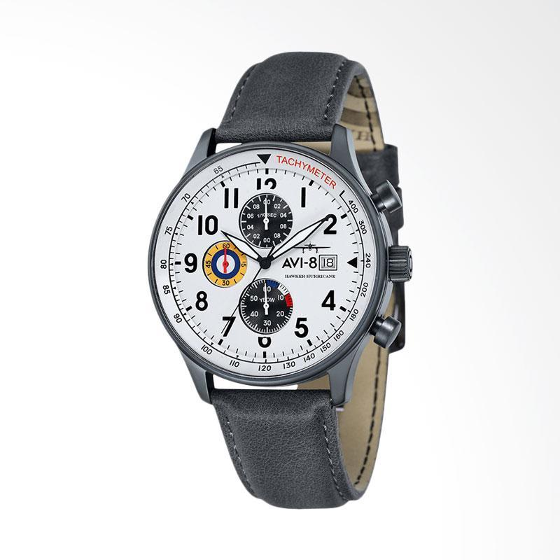 AVI-8 AV-4011-0B Man Hawker Hurricane Watch Leather Strap Jam Tangan Unisex - White Grey
