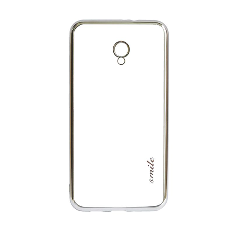 SMILE Ultrathin Shining List Chrome Softcase Casing for Meizu M5 Note - Silver