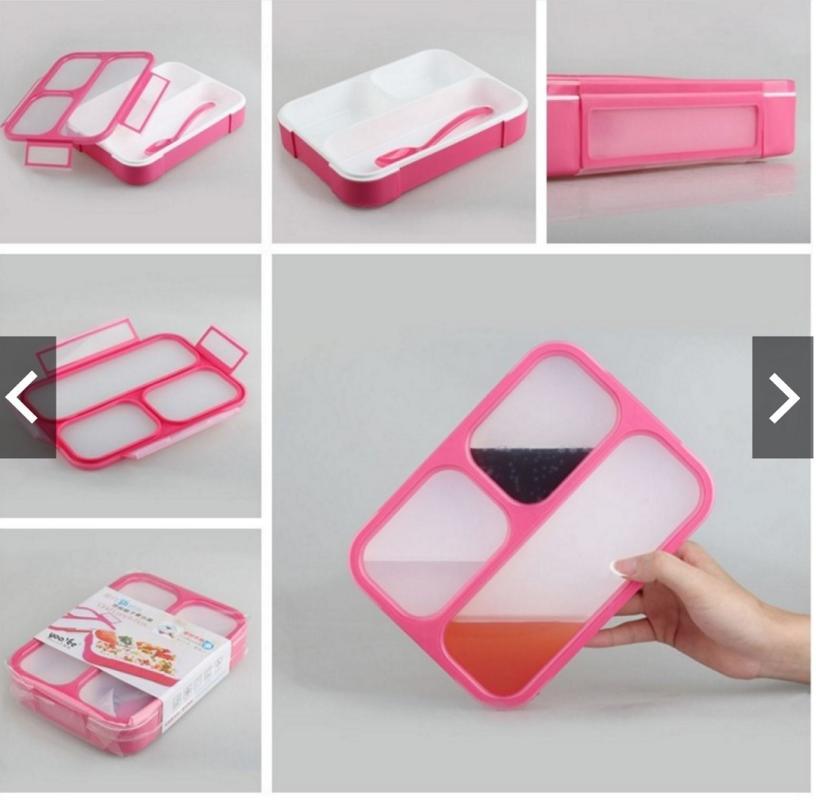 Yooyee 579 Grid Bento Box Kotak Makan - Pink [Sekat 3]