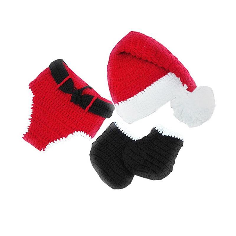 Costume Karakter Natal Rajut Santa Claus Christmas Kostum Bayi - Merah