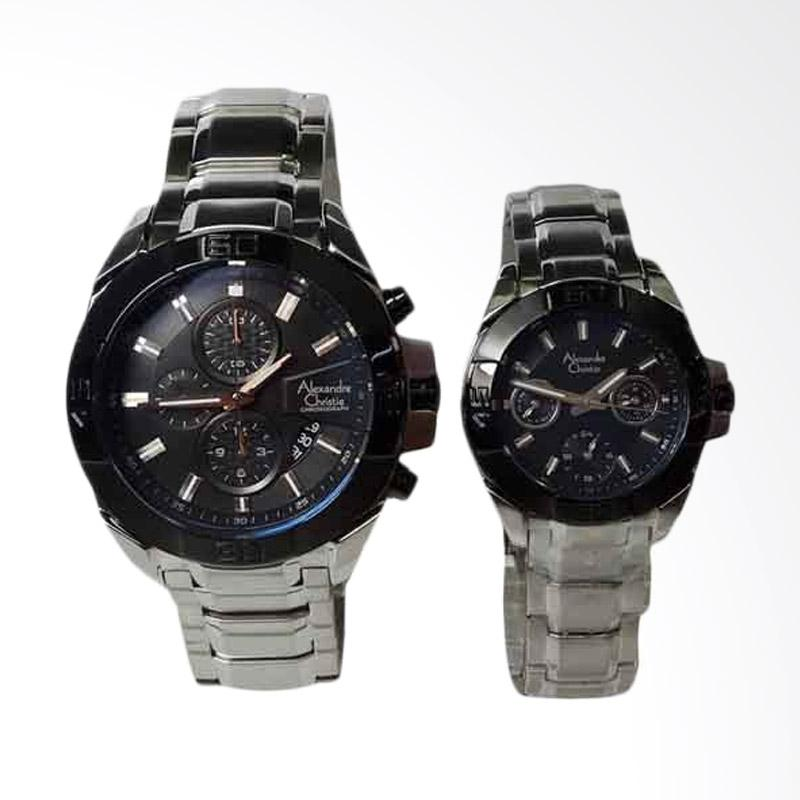 Alexandre Christie Jam Tangan Couple - Silver Black [6224]