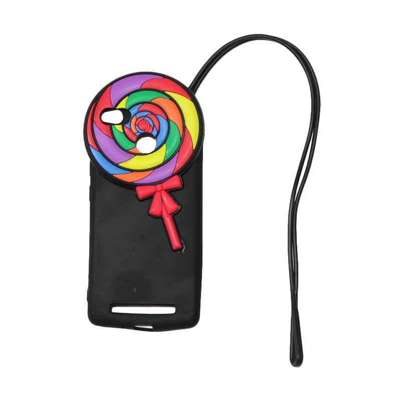 QCF Softcase 4D Silikon Case 4D Karakter Candy Lolipop Edition Silikon Softcase with Kalung Tali Gantungan Casing for Xiaomi Redmi 3 Pro - Black