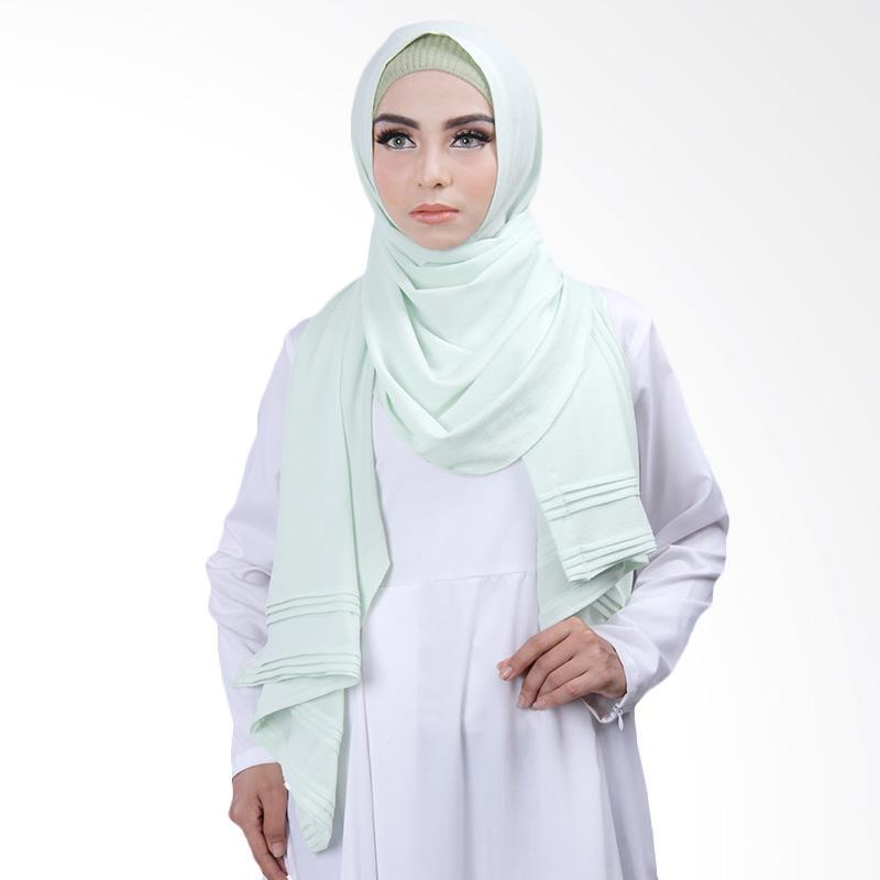 Cantik Kerudung Khloe Pleated Shawl Jilbab Instant - Mint Green No.11