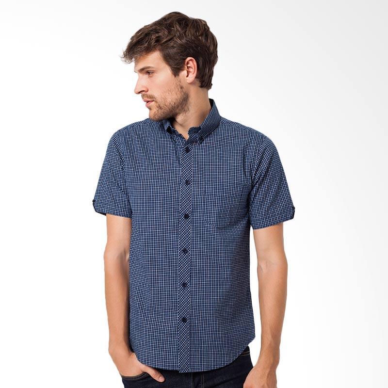 A&D Fashion Mens Shirt Short Sleeve Atasan Pria - Navy [MS 753]