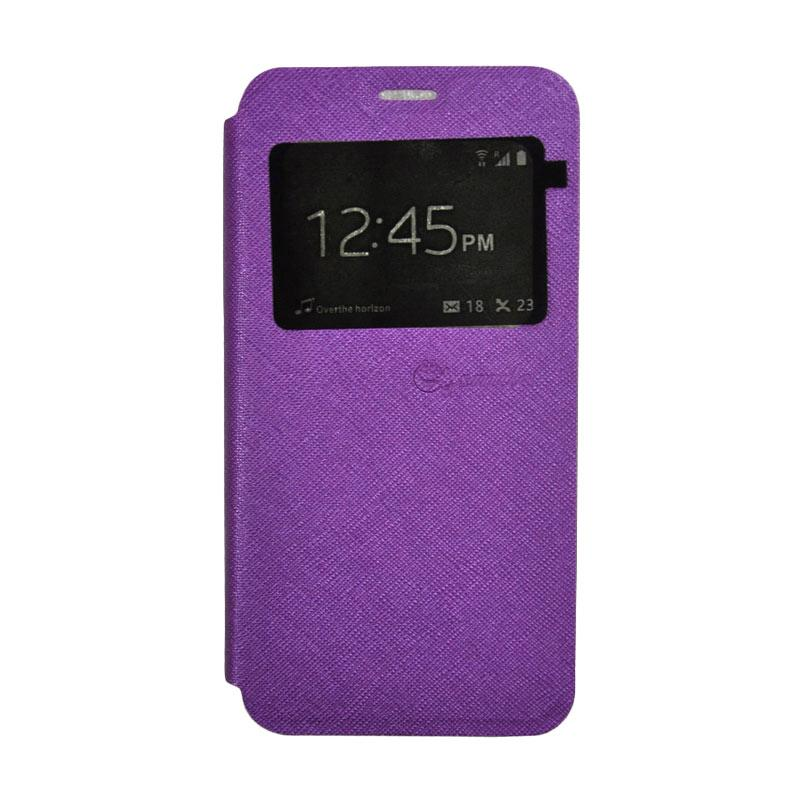 SMILE Leather Standing Flip Cover Casing for Vivo Y21 - Purple