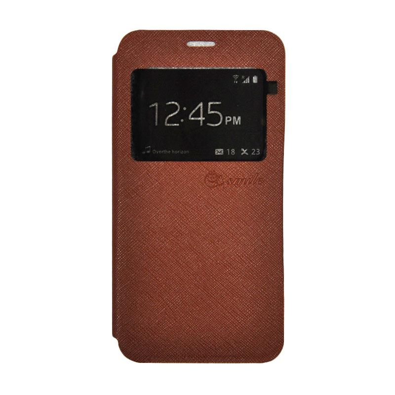 SMILE Leather Standing Flip Cover Casing for Vivo Y21 - Brown