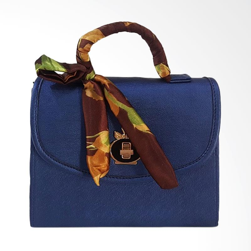 Chloebaby Shop S310 Crossbody Shoulder Scarf Bag Clutch Kanvas Tas Selempang Wanita - Navy