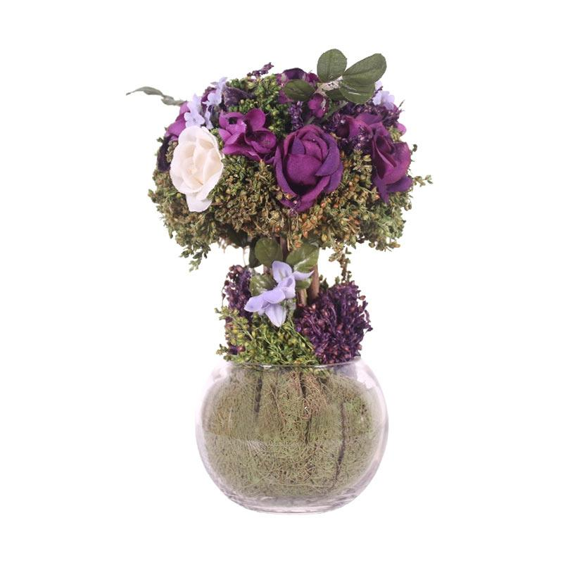 Thema Home 1280 A Roses Gypso Topiary In GLS Ball Shape Vase Bungga - Purple