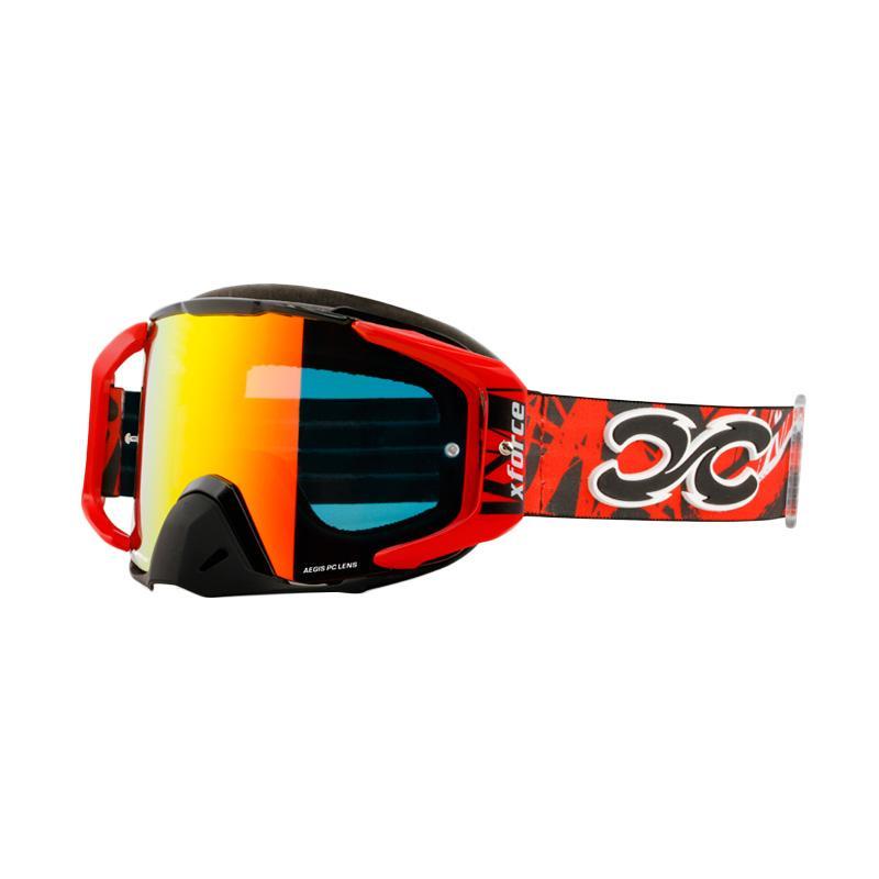 Xforce® Assassin XL Moto Cross Kacamata Goggle - Black Red
