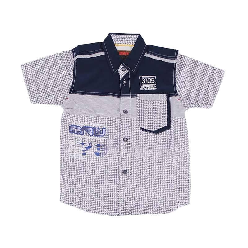Woffi CRW HK5-04-752 Kemeja Pendek Anak Laki Laki - Hitam