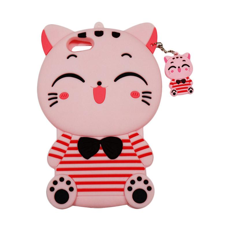 QCF Softcase 4D Karakter Kucing Lucky Cat Pink Silicone 4D Casing for Oppo A57 - Pink