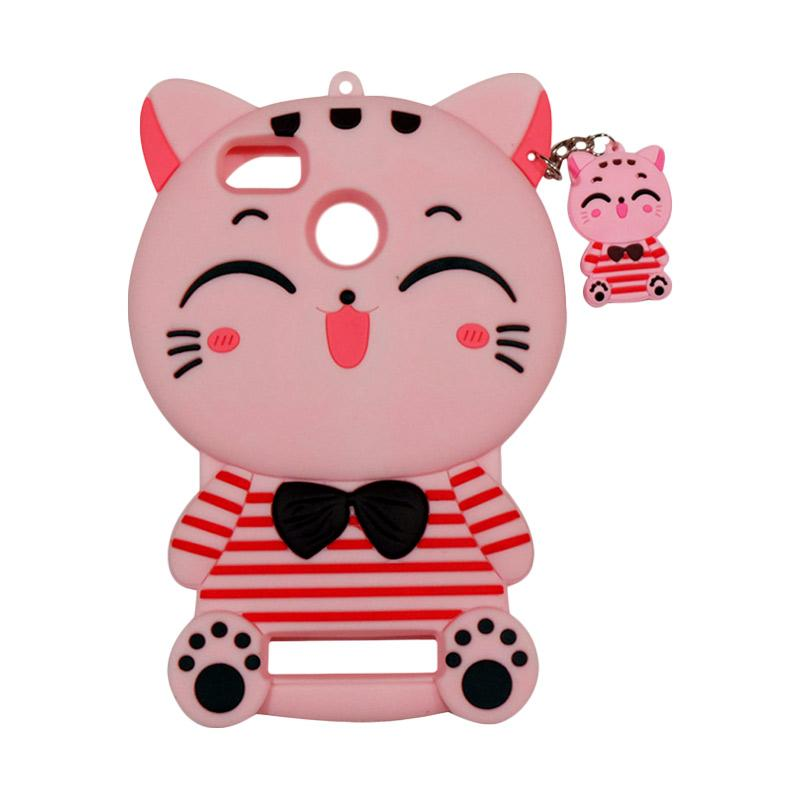 QCF Softcase 4D Karakter Kucing Lucky Cat Pink Silicone 4D Casing for Xiaomi Redmi 4A - Pink