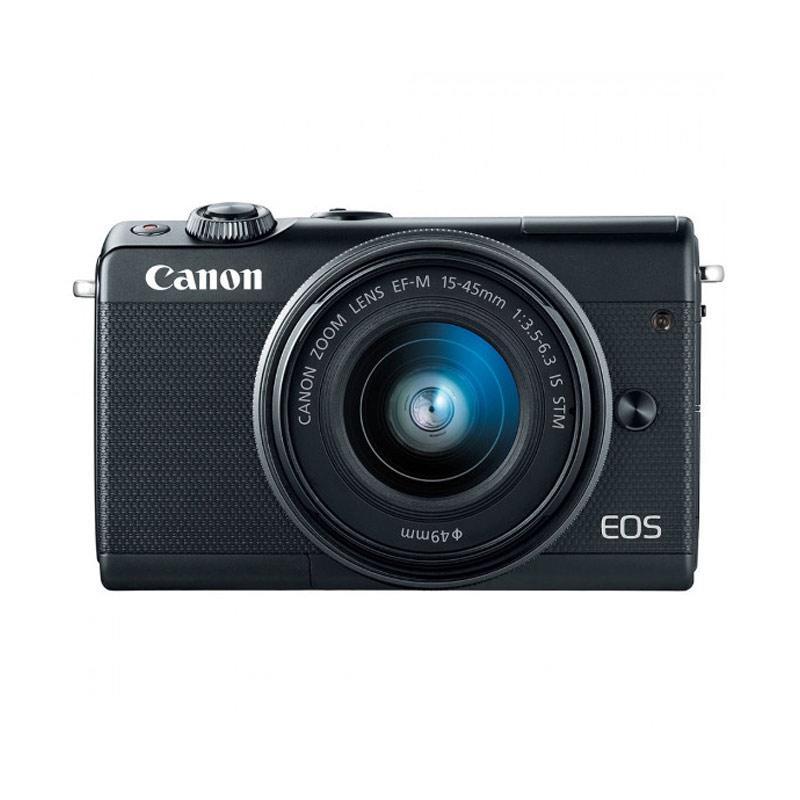 harga Canon EOS m100 kit 15-45mm Mirrorless - Hitam (Free Screenguard Terpasang + Memory SDHC 16GB) -Ladang Blibli.com