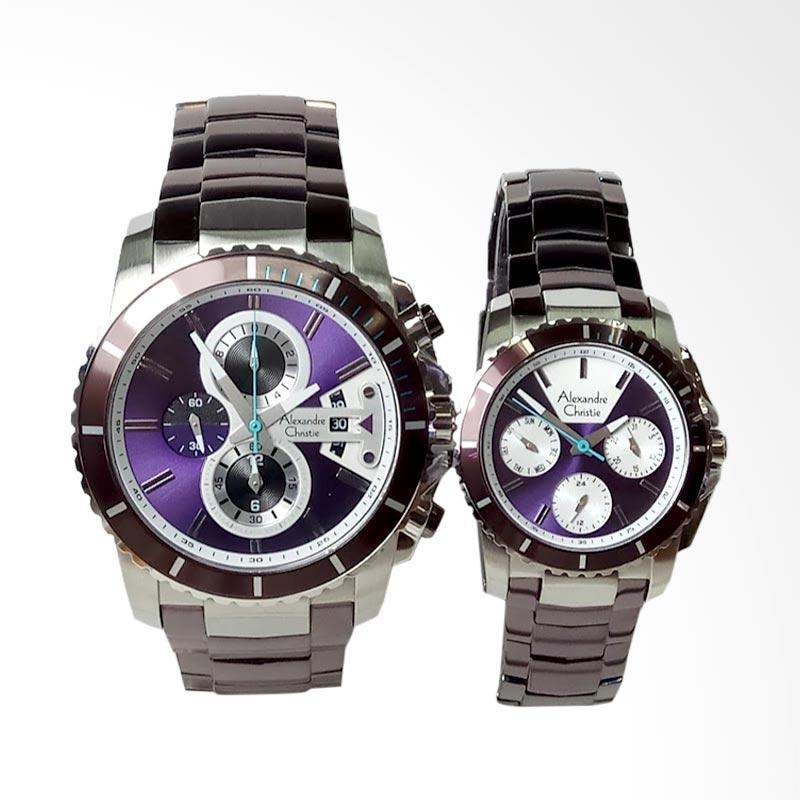 harga Alexandre Christie Stainless Steel Jam Tangan Couple - Silver Purple [AC6455MC/BF] Blibli.com