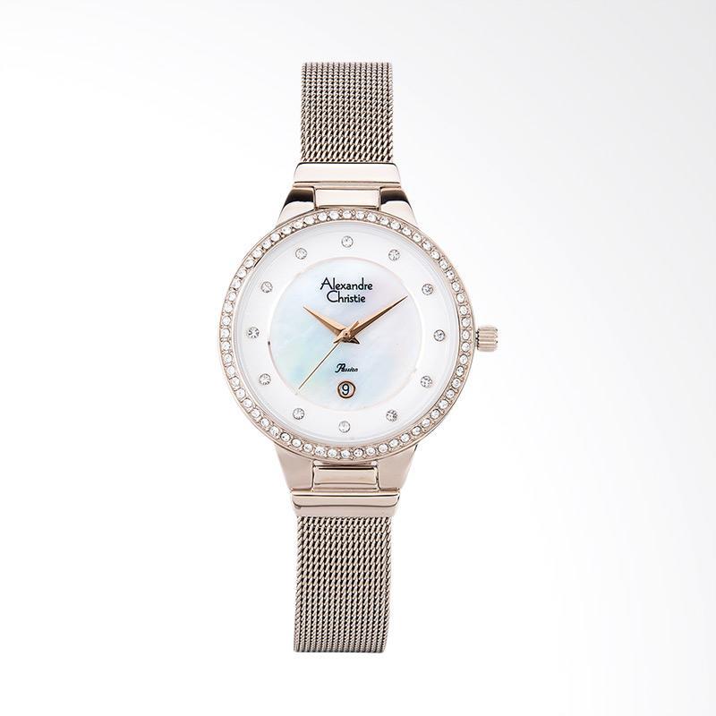 Alexandre Christie AC 2671 LD BCGSL Ladies White Mother of Pearl Dial Jam Tangan Wanita - White Rose Gold