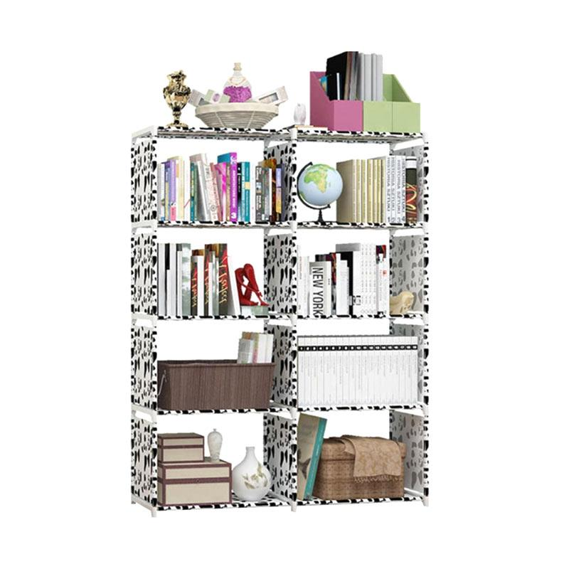 SJHOP 2 Sisi Rak Buku Serbaguna - Dalmatian White [85 x 30 x 125 cm]