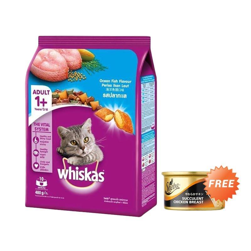 harga Whiskas Adult Ocean Fish Makanan Kucing [480 g] + Free 1 pcs Sheba