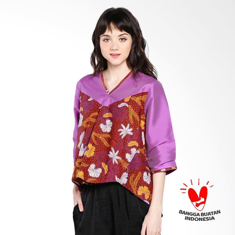 harga Lombang Batik by Yati Law Blus Kragh V Blouse Atasan Wanita - Ungu Blibli.com