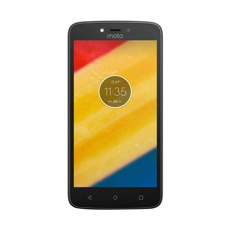 Motorola Moto C Plus Smartphone Black Transparent Back Cover with Protective Film