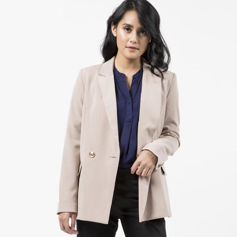 The Executive 5-BZWFEM219B075 Long Sleeve Blazer Wanita - Khaki