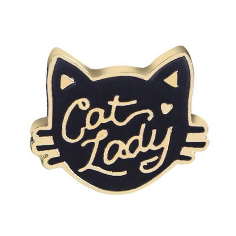 Bluelans Creative Cartoon Cat Egg Shape Badge Women Clothes Enamel Letter  Brooch Pin [3]