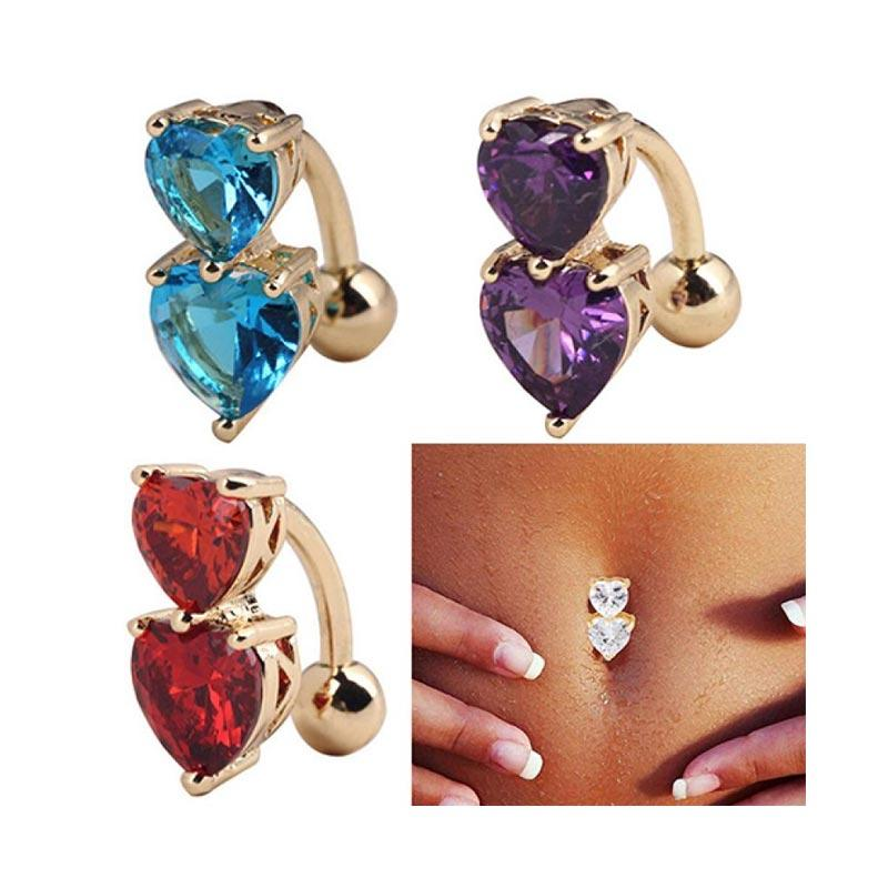 Bluelans Reverse Crystal Zircon Bar Belly Ring Gold Body Piercing Button Navel Two Hearts Red