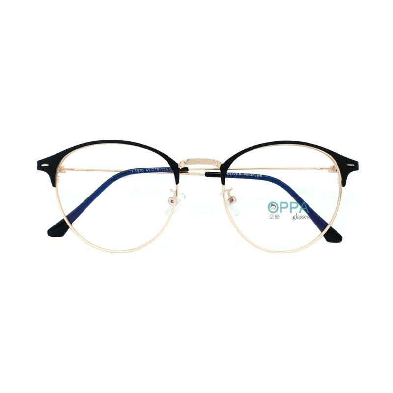 Oppa Glasses OP12 BLGD Korea Frame Bulat Minus Kacamata Unisex Hitam Gold