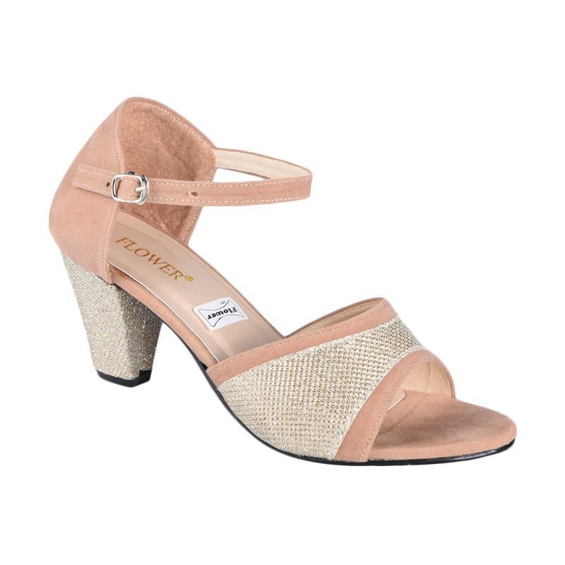 Flower SN-314 High Heels Wanita - Cream