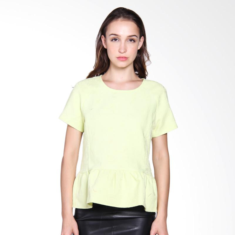 Carte Peplum Top Blouse - Lime Green