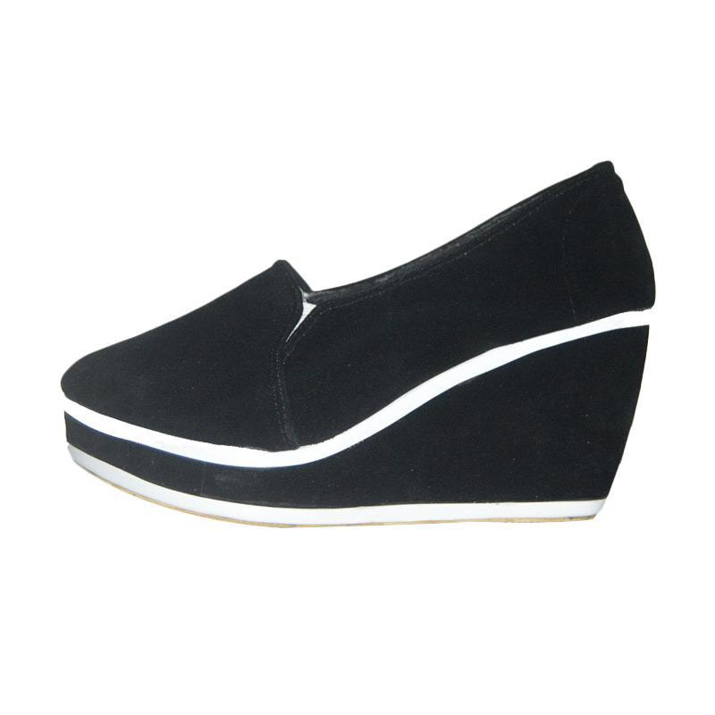 Hawabie Palmino Sepatu Wedges Wanita - Black